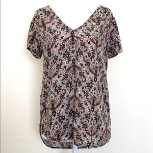Hinge | Nordstrom floral v neck high low blouse